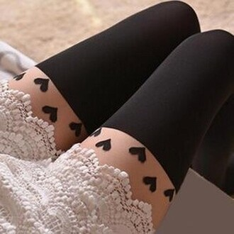 tights doublelw hearts tights leggings pants cute girly fall outfits fashion kawaii style clothes