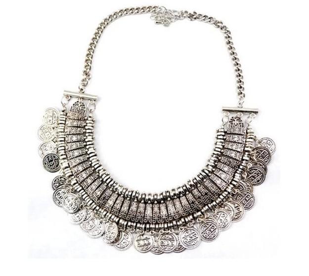 Wholesale vintage design antique silver plate charm choker necklace