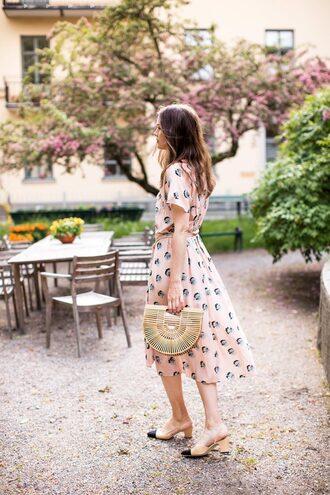carolines mode blogger dress shoes bag midi dress cult gaia bag summer dress slingbacks pumps summer outfits