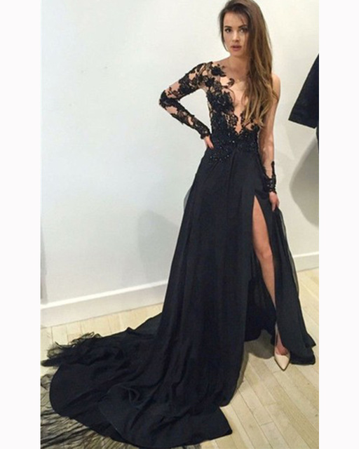 1831f0e212 Aliexpress.com   Buy Hot Sale Glamorous Lace Prom Dress Sexy V Neck And  Slit Prom Dress 2016 Black ...