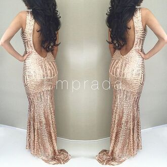 dress sexy sexy dress long sexy dress long dress maxi dress sequins sequin maxi dress rose gold rose gold dress rose gold sequin dress rose gold sequin maxi dress new year's eve gown prom dress gowms sequin open back dress gold rose