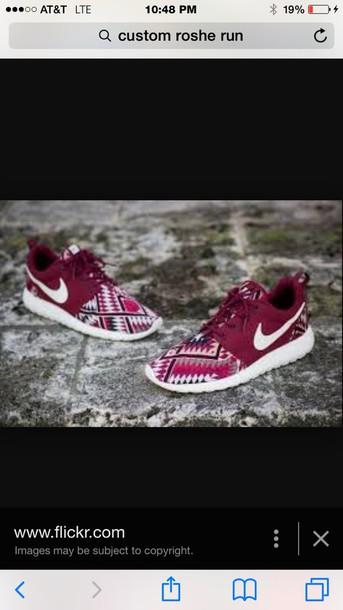 shoes nike burgundy aztec nike roshe run