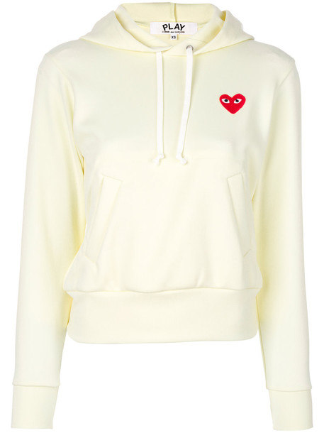 Comme Des Garçons Play - logo hoodie - women - Polyester - S, White, Polyester