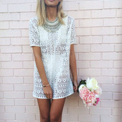 see through,pattern,t-shirt dress,shift dress,hipster wedding,statement necklace,lace,jewels