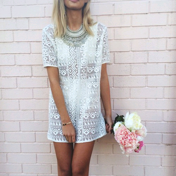 see through pattern t-shirt dress shift dress hipster wedding statement necklace lace jewels