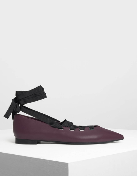 Laced Up Pointed Flats in purple