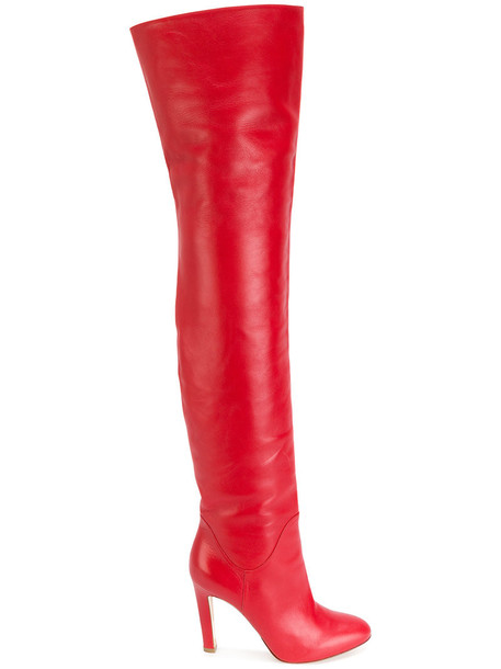 Francesco Russo high women thigh high boots leather red shoes