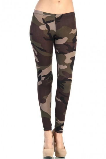 LoveMelrose.com From Harry & Molly | Army Camo Print Leggings - Dark Green