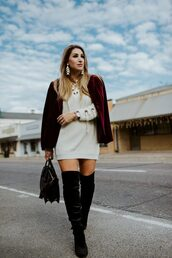 januaryhart,blogger,sweater,dress,jacket,shoes,jewels,sweater dress,red jacket,blazer,velvet blazer,boots,over the knee boots,winter outfits