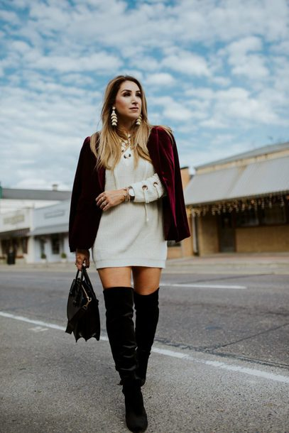 januaryhart blogger sweater dress jacket shoes jewels sweater dress red jacket blazer velvet blazer boots over the knee boots winter outfits