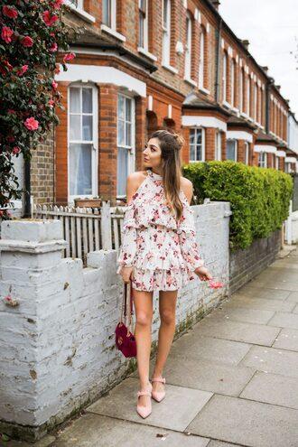 dress floral floral dress shoes heels bag spring dress shoulder cut dress