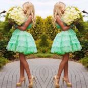 dress,girly,green dress,mint dress,homecoming dress,prom dress,cocktail dress,mint,türkis,blue,poofy,short dress,nice dress,cool,lovely dress,blue dress,magnifique robe,cute,clothes,cute dress,green lace dress,party dress,princess dress,skater dress,flare,summer dress,outfit,high heels,purse,glitter,blonde hair,mint green lace