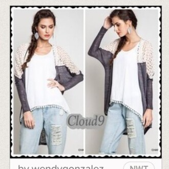 cardigan cloud 9 grey white women's clothing