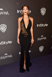 dress,gown,prom dress,slit dress,plunge dress,plunge v neck,nicole scherzinger,sandals,Golden Globes 2016