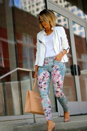 the courtney kerr,jacket,tank top,shoes,bag,jewels,sunglasses,pants,jeans,floral pants,skinny pants