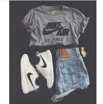 shirt grey grey t-shirt nike nike air nike air force 1 crop