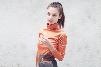 venka vision blogger turtleneck orange waist belt