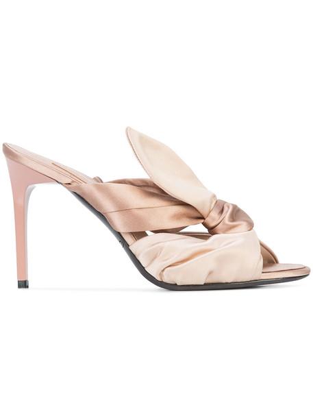 women mules nude silk satin shoes