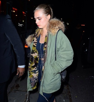 camouflage green cara delevingne winter outfits