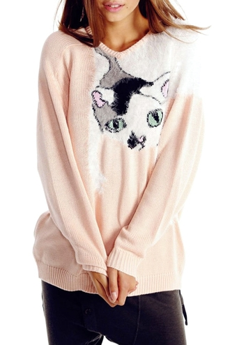 sweater larfe sweater loose fit sweater cats cat sweater cute pink sweater pastel pink kawaii kawaii grunge pastel goth zaful girly tumblr outfit pastel kitten print