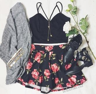skirt floral mini skirt shirt