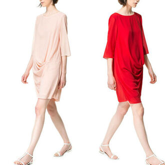 dress round neck drape zara zara dress pink pink dress red dress red mini dress half-sleeved half sleeves casual dress casual summer summer dress fashion style cute cute dress cute outfits pretty