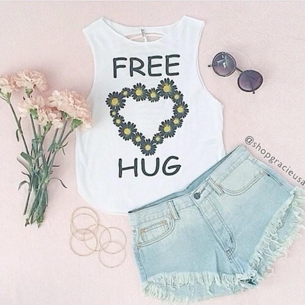 tank top cute feathers daisy heart free spirit shorts shirt