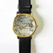 jewels,watch,map watch,vintage style,leather watch,jewelry,fashion,accessories,boyfriend watch,black,leather watches