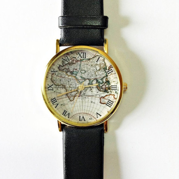 jewels watch map watch vintage style leather watch jewelry fashion accessories boyfriend watch black leather watches