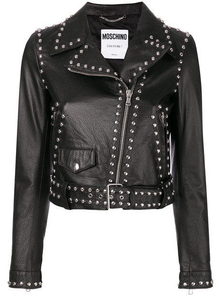 Moschino jacket biker jacket studded women leather black