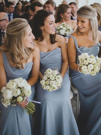 dress wedding bridesmaid grey one shoulder asymmetrical floor length chiffon sheath stylish elegant