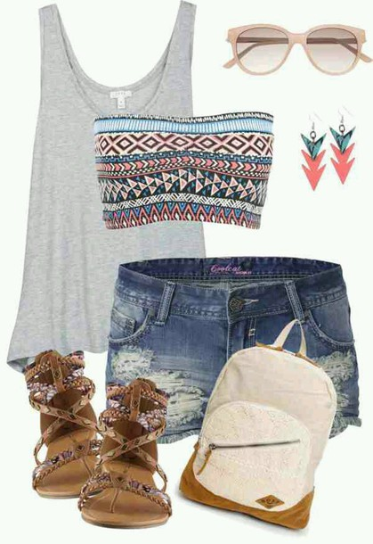 tank top grey tank tribal bandeau shoes