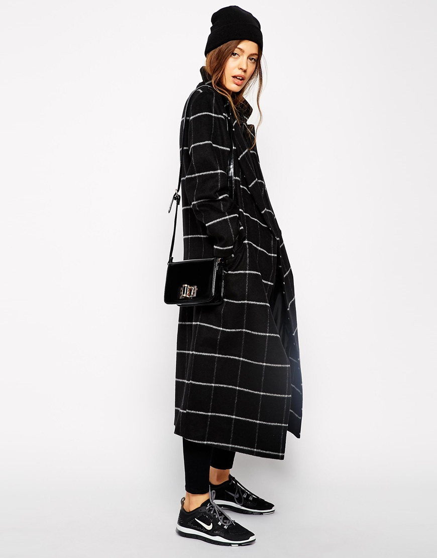 ASOS Coat in Oversized Fit in Check at asos.com