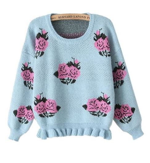 Blue Knit Peony Sweater with Ruffle Hem