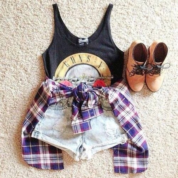 tank top blouse shorts jacket