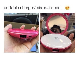 home accessory mirror phone charger portable pink