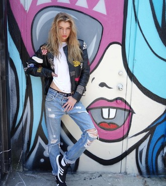 jacket stella maxwell leather jacket white embroidered white t-shirt destroyed denim adidas adidas shoes