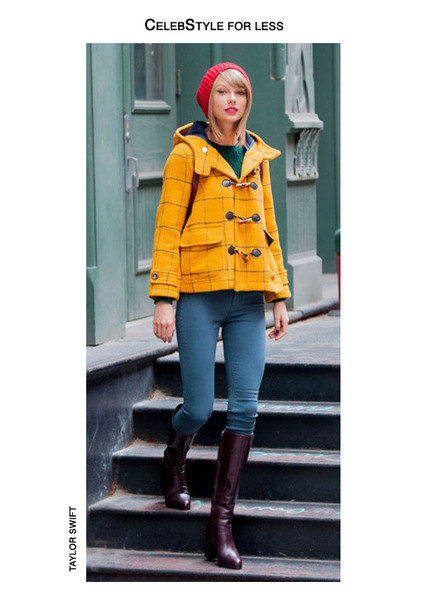 taylor swift yellow coat knitted beanie skinny jeans burgundy boots winter coat winter outfits knitted sweater forest green hair accessory make-up red lipstick celebrity style zalando duffle coat