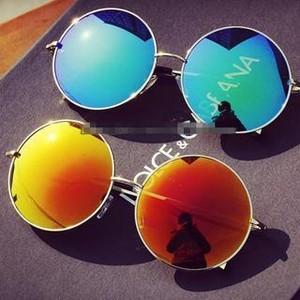 Oversized round mirrored sunglasses