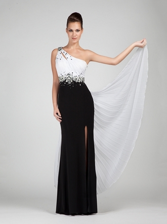 dress white black black and white dress one shoulder maxi dress evening dress slit dress gown