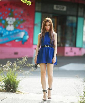 sandals blogger blue dress chloe ting belt