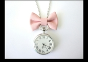 jewels,pink,light pink,watch,necklace,girly,vintage,retro,bow necklace,pink bow,sautoir,gousset,montre,bow,bows