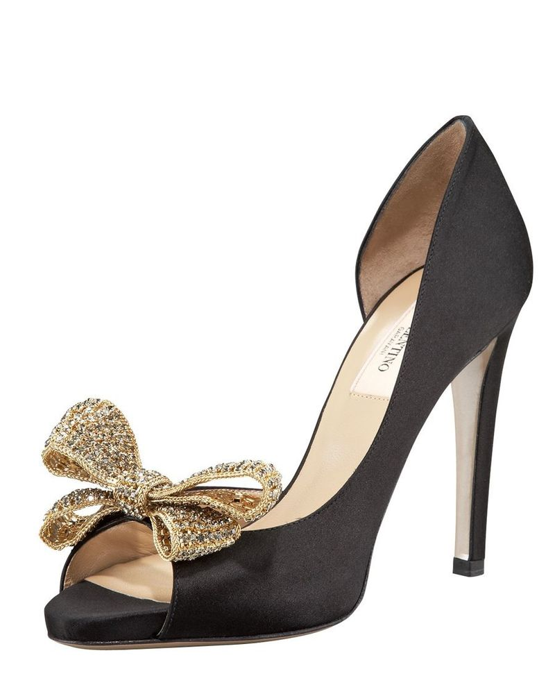 Valentino jewelery couture bow d'orsay pump heels shoes sz 39 ~ neimans $1,095
