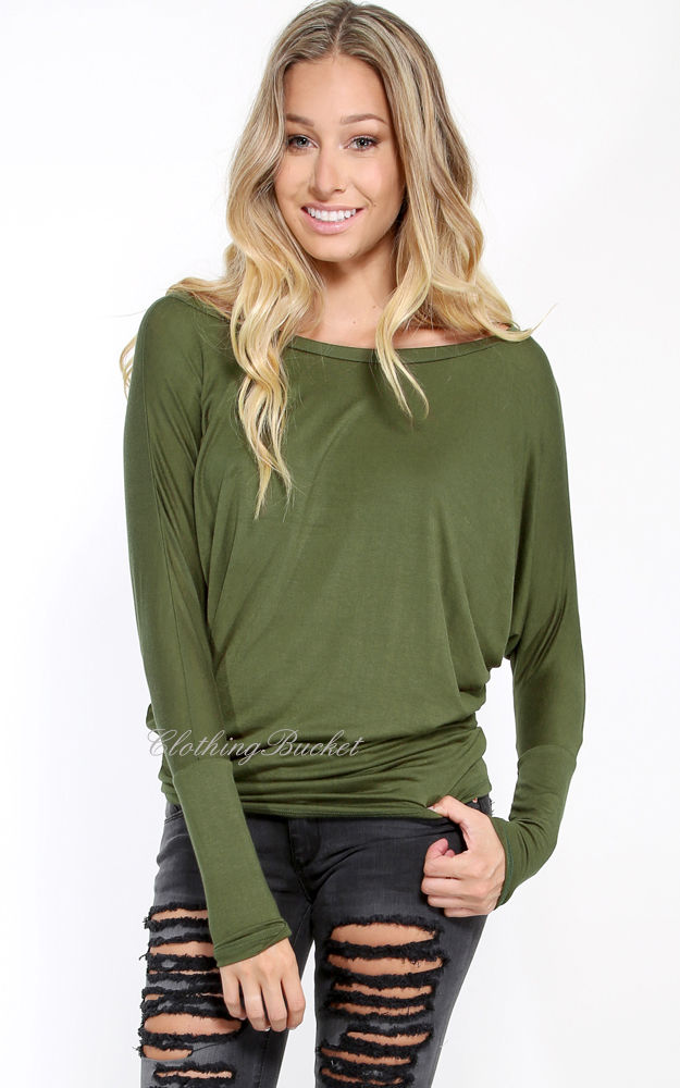 NWOT Olive Women's Basic Fashion Banded Arm Dolman Tunic Top Long Sleeves