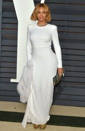 dress,white dress,maxi dress,long sleeves,beyonce,gown,oscars 2015,celebrities in white