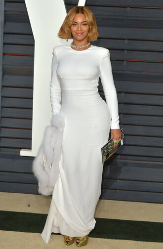 dress white dress maxi dress long sleeves beyonce gown oscars 2015