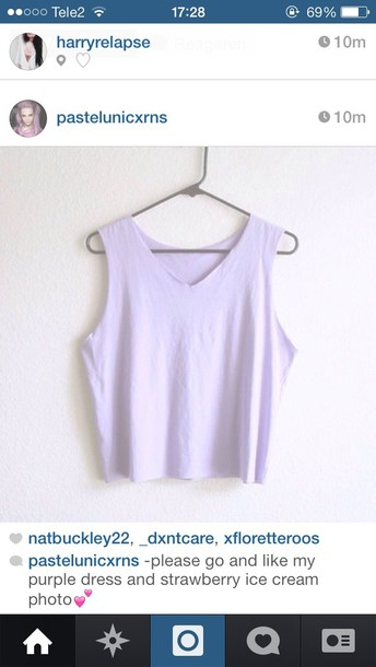tank top lilac shirt top crop tops cute pastel