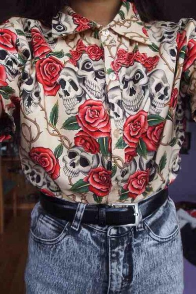 skull skeleton blouse roses skull t-shirt shirt halloween beige rose collar