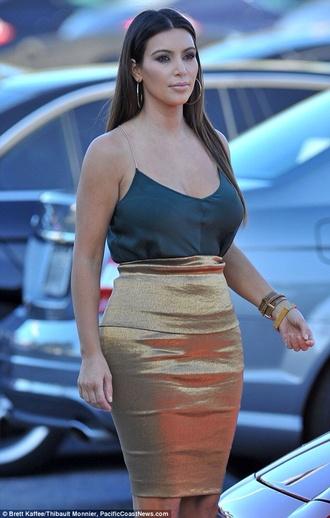 blouse kim kardashian sexy gold teal