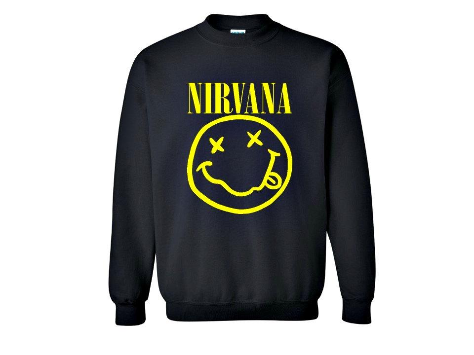 Nirvana sweatshirt. nirvana smiley face crew neck. american rock band. kurt cobain. smiley face shirt, t shirt. nirvana shirt. black